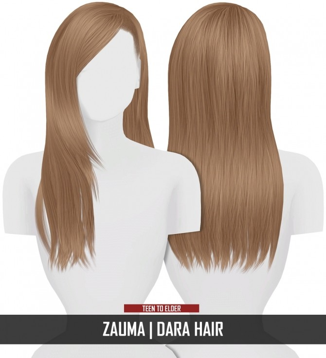 Sims 4 ZAUMA DARA HAIR by Thiago Mitchell at REDHEADSIMS