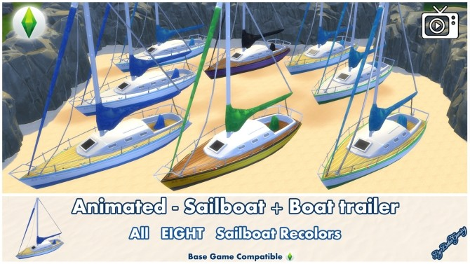 Sims 4 Animated Sailboat + Water Ripple Effect by Bakie at Mod The Sims