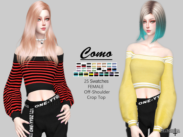 COMO Off Shoulder Top by Helsoseira at TSR image 1711 Sims 4 Updates