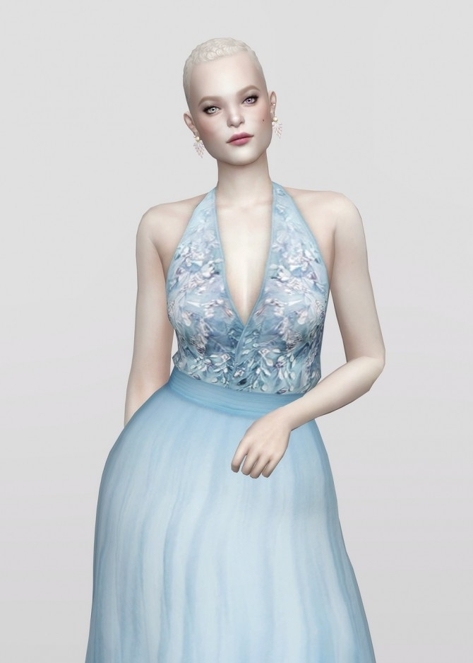 Sims 4 Embellished tulle blue halter neck gown at Rusty Nail