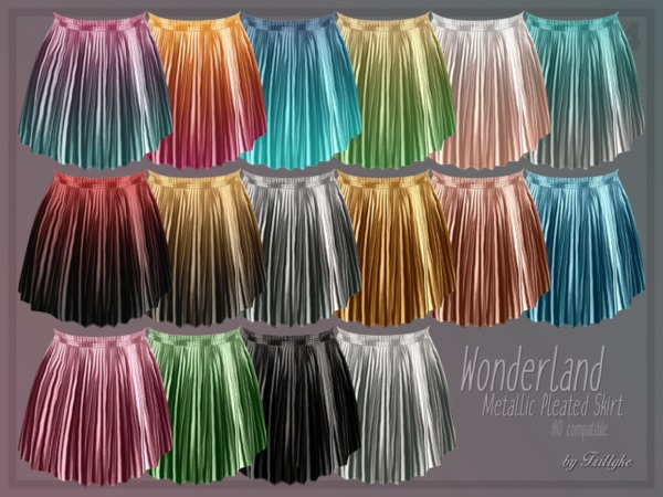 Wonderland Metallic Pleated Skirt by Trillyke at TSR image 1712 Sims 4 Updates
