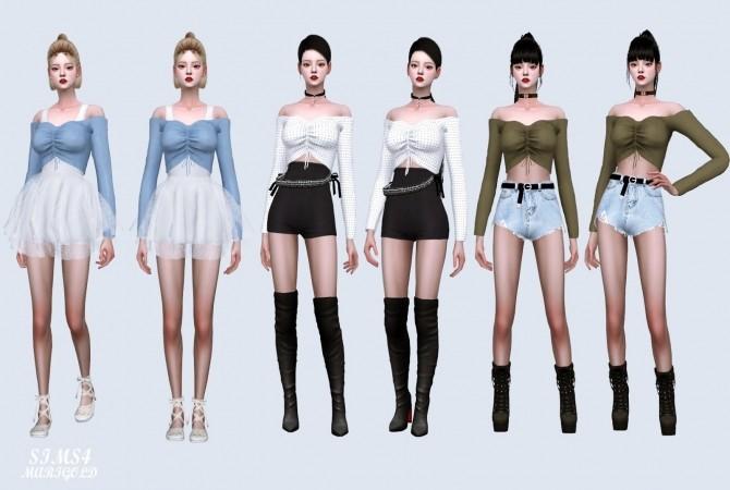 Sims 4 Shirring Off Shoulder Top at Marigold
