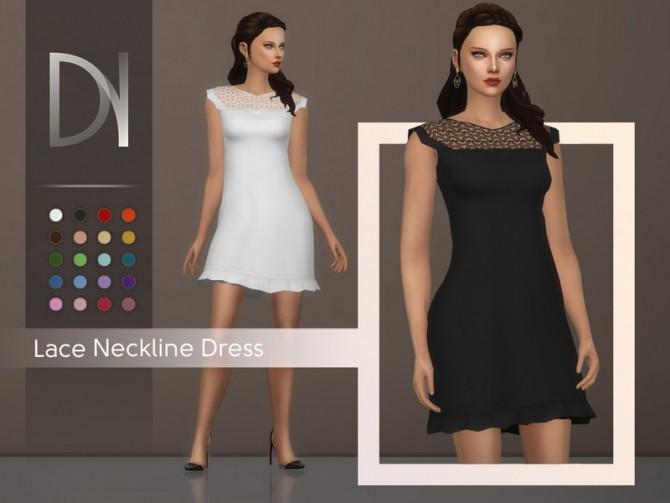 Sims 4 Lace Neckline Dress by DarkNighTt at TSR