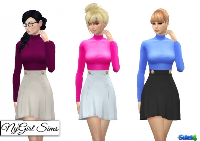 Sims 4 Turtleneck High Waist Dress at NyGirl Sims