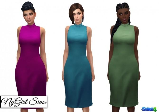 Sims 4 Mock Neck Pencil Dress at NyGirl Sims