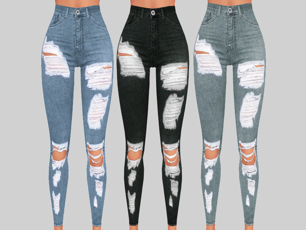 Sims 4 Sunset Denim Ripped Jeans 017 by Pinkzombiecupcakes at TSR