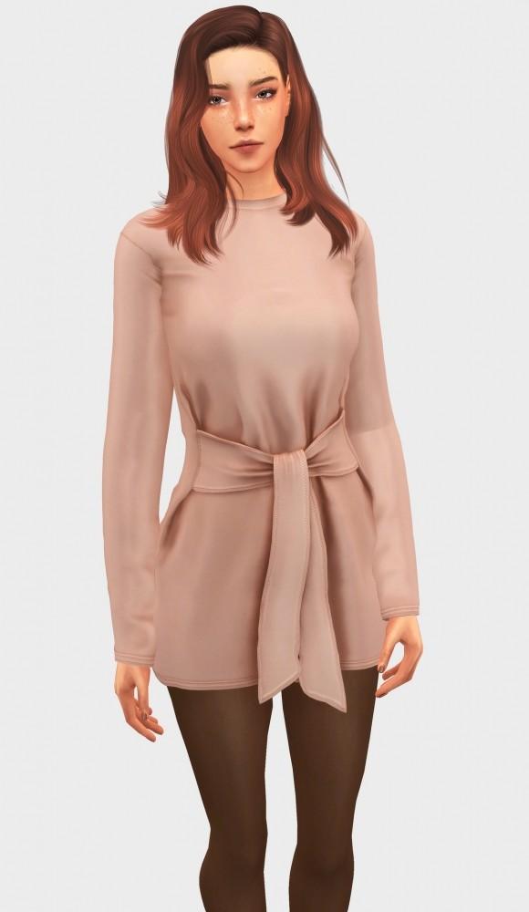 Sims 4 Tie Waist Dress at Elliesimple