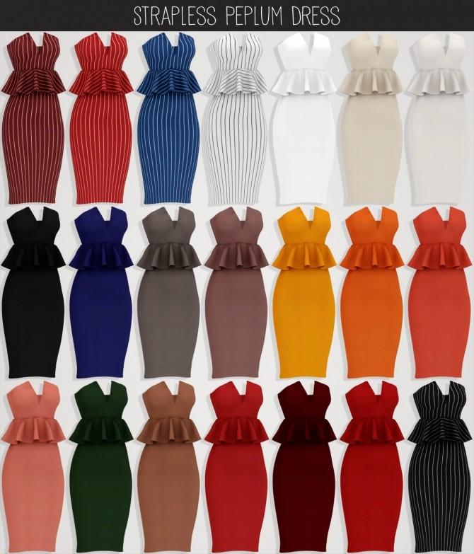 Sims 4 Strapless Peplum Dress at Elliesimple