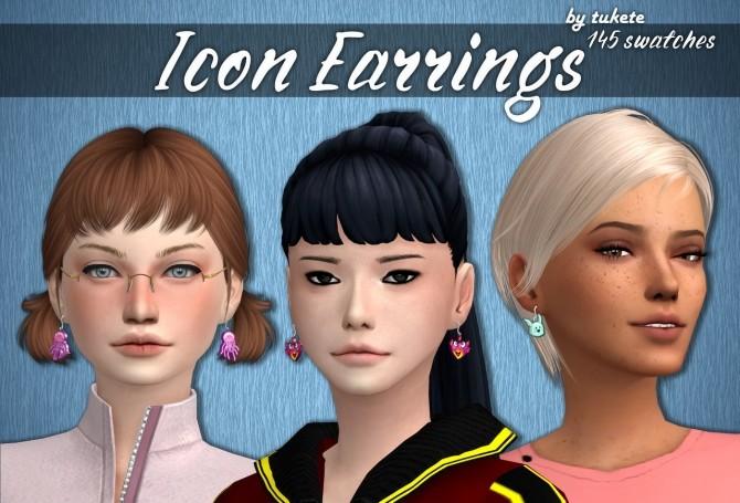 Sims 4 Icon Earrings at Tukete