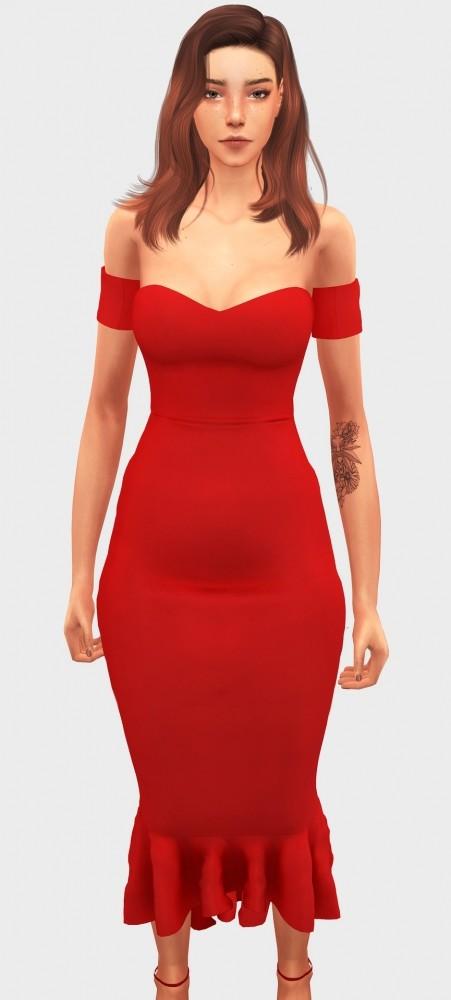 Sims 4 Fishtail Midi Dress at Elliesimple