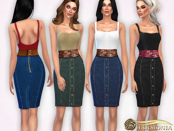 Pencil Denim Skirt and Tank Top by Harmonia at TSR image 2310 Sims 4 Updates