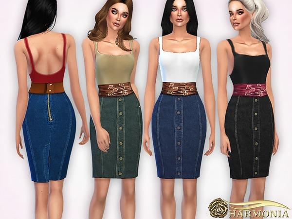 Sims 4 Pencil Denim Skirt and Tank Top by Harmonia at TSR