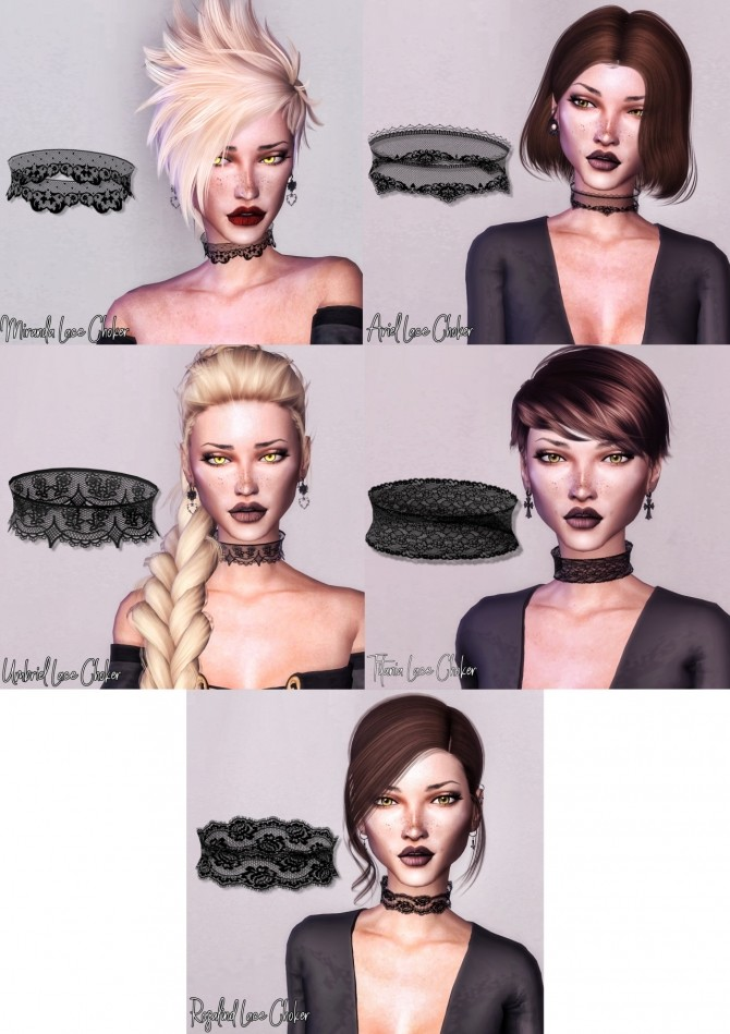 Sims 4 Lace Choker Collection at Deep Space