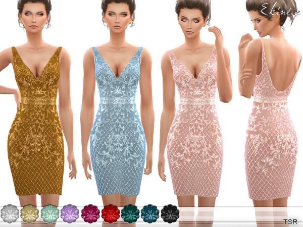 V Neck Beaded Short Dress by ekinege at TSR image 2339 Sims 4 Updates