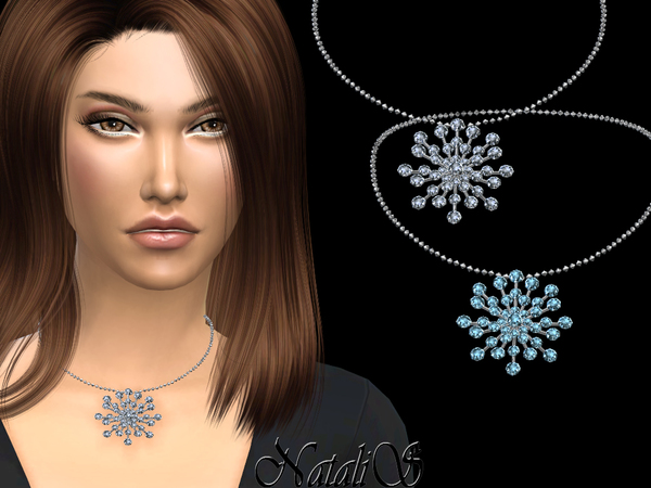 Sims 4 Round crystals snowflake necklace by NataliS at TSR