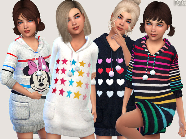 Sims 4 Winter Hoodie Sweater Dress Collection For Girls by Pinkzombiecupcakes at TSR