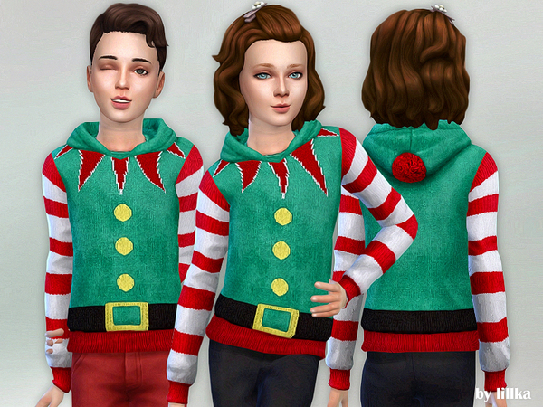 Sims 4 Christmas Hoodie for Children by lillka at TSR