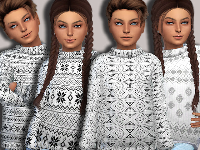 Sims 4 X Mas Sweater for kids at MSQ Sims