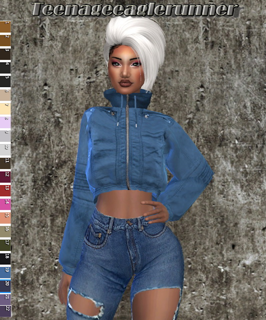 Sims 4 Croped Leather Jacket Recolor at Teenageeaglerunner
