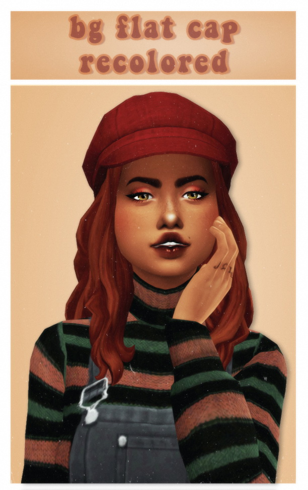 Cute poofy base game flat cap at cowplant pizza image 258 Sims 4 Updates