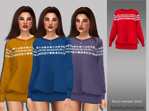 Sims 4 Belaloallure Norra sweater dress by belal1997 at TSR