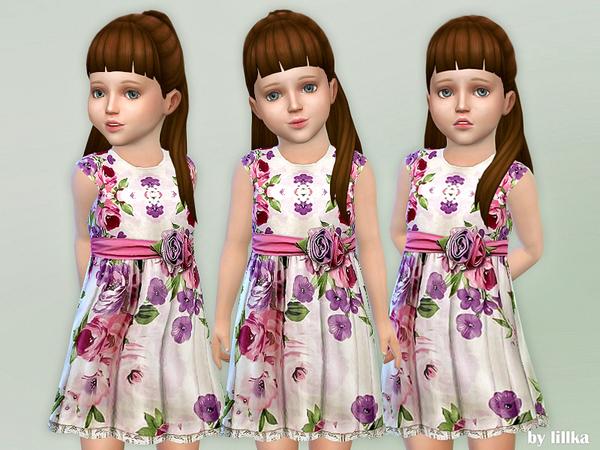Sims 4 Floral Satin Dress by lillka at TSR