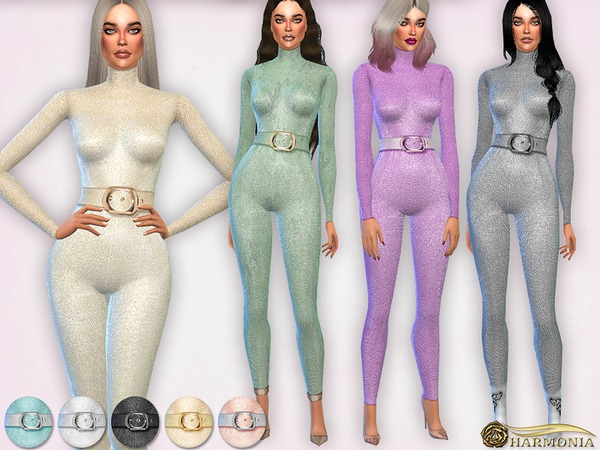 Metallic Fabric Belted Jumpsuit by Harmonia at TSR image 2624 Sims 4 Updates