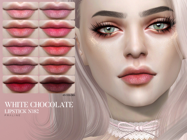 Sims 4 White Chocolate Lipstick N182 by Pralinesims at TSR