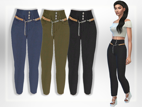 Sims 4 Belted Pants by Puresim at TSR