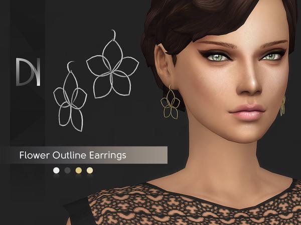 Flower Outline Earrings by DarkNighTt at TSR image 2824 Sims 4 Updates