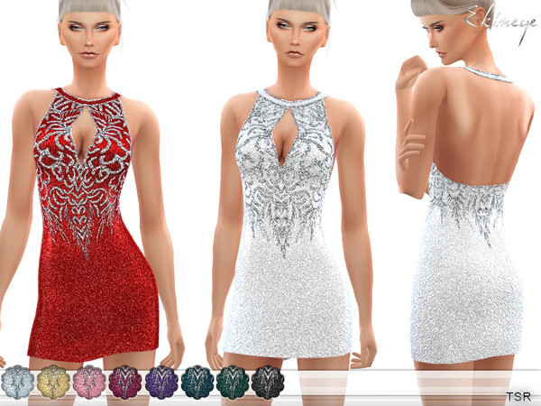 Sims 4 Sequined Keyhole Detail Dress by ekinege at TSR