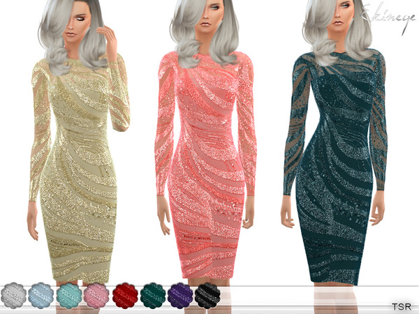 Sequin Wave Dress by ekinege at TSR image 2830 Sims 4 Updates