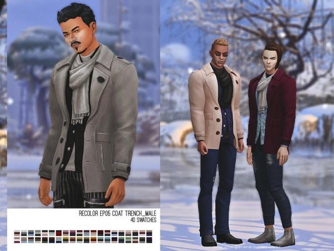Recolor EP05 Coat Trench male at Helga Tisha image 286 670x503 Sims 4 Updates