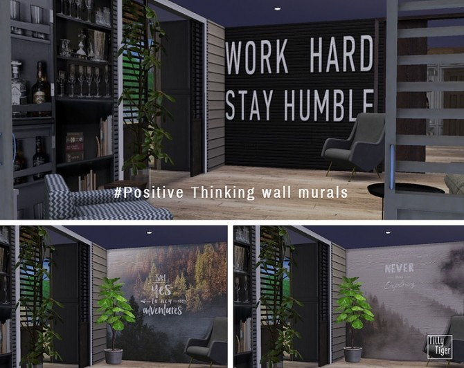 Positive Thinking wall murals by Tilly Tiger at Blooming Rosy image 291 670x532 Sims 4 Updates