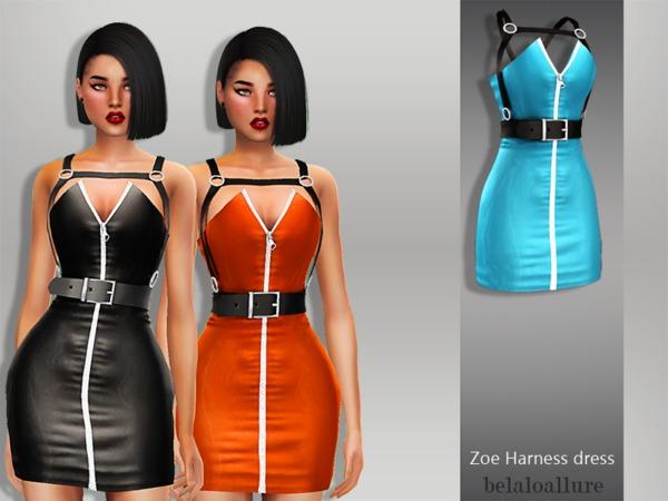 Sims 4 Zoe Harness Dress by Belaloallure at TSR