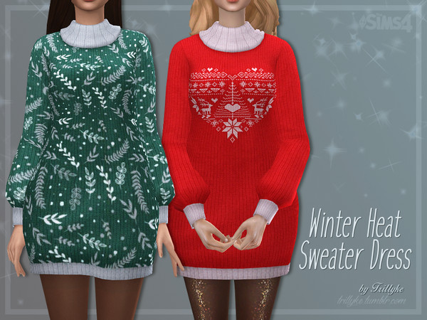 Winter Heat Sweater Dress by Trillyke at TSR image 2926 Sims 4 Updates