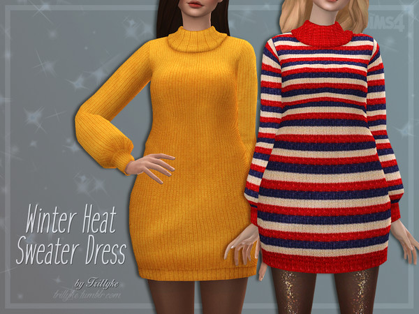 Winter Heat Sweater Dress by Trillyke at TSR image 3026 Sims 4 Updates