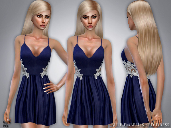 Blue Embellished Dress by Black Lily at TSR image 3136 Sims 4 Updates