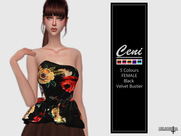 Sims 4 CENI Velvet Bustier Top by Helsoseira at TSR