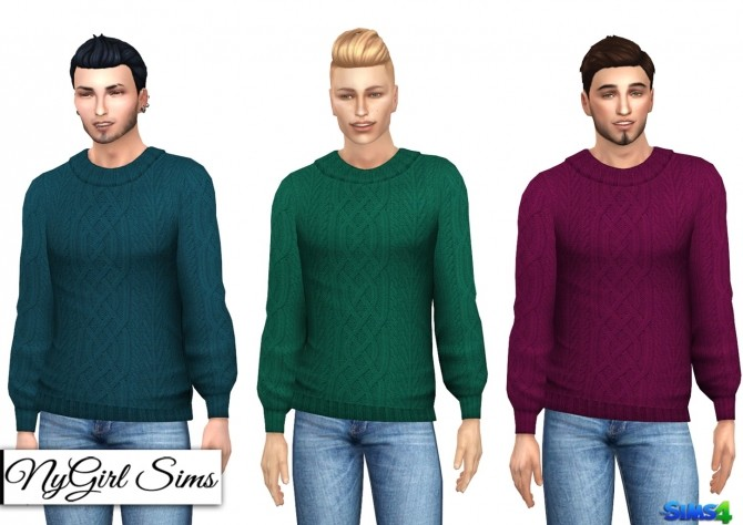 Sims 4 Cable Knit Collared Sweater at NyGirl Sims
