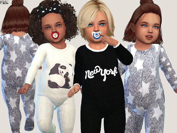 Sims 4 Toddler Onesie Collection and Little Bear Sweater Set by Pinkzombiecupcakes at TSR