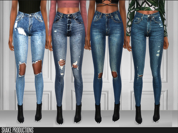 Sims 4 206 SET 4 Different Jeans by ShakeProductions at TSR