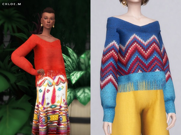 Sims 4 Sweater with tassels by ChloeMMM at TSR