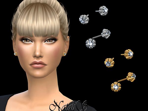 Sims 4 6 Prong diamond stud earrings by NataliS at TSR