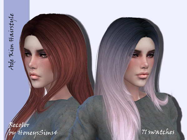 Sims 4 Ade Kim female hair recolor at TSR
