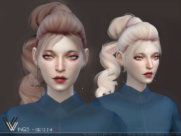 Sims 4 WINGS OE1224 hair by wingssims at TSR