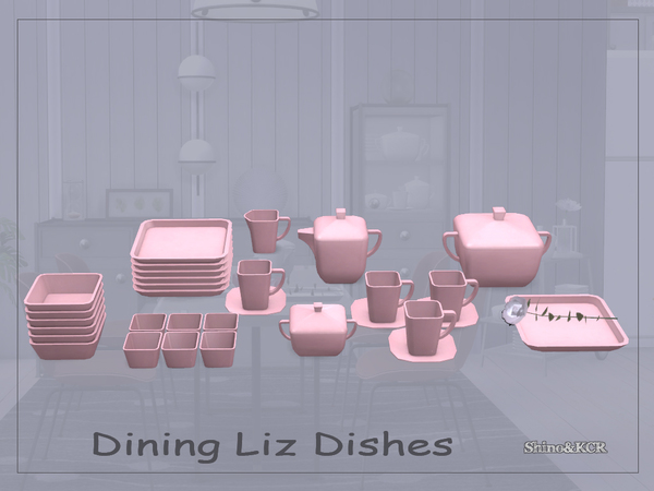 Sims 4 Dining Liz Dishes by ShinoKCR at TSR