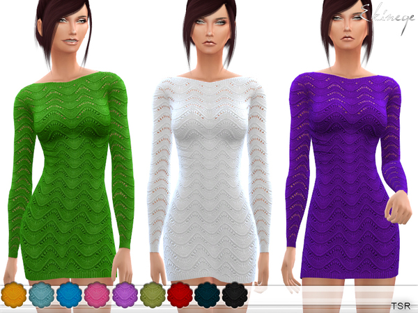 Sims 4 Wave Knit Dress by ekinege at TSR