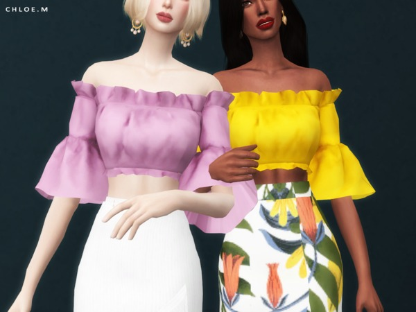 Sims 4 Off the  shoulder crop top by ChloeMMM at TSR