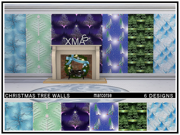Christmas Tree Walls by marcorse at TSR image 3827 Sims 4 Updates